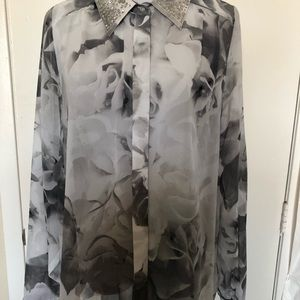 Multi Grey Decorative Collar Long Sleeve Blouse